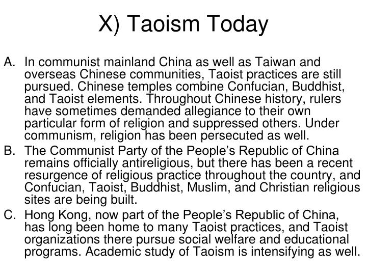 X) Taoism Today