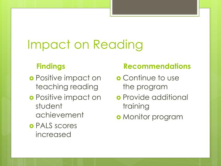 Impact on Reading