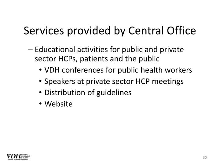 Services provided by Central Office