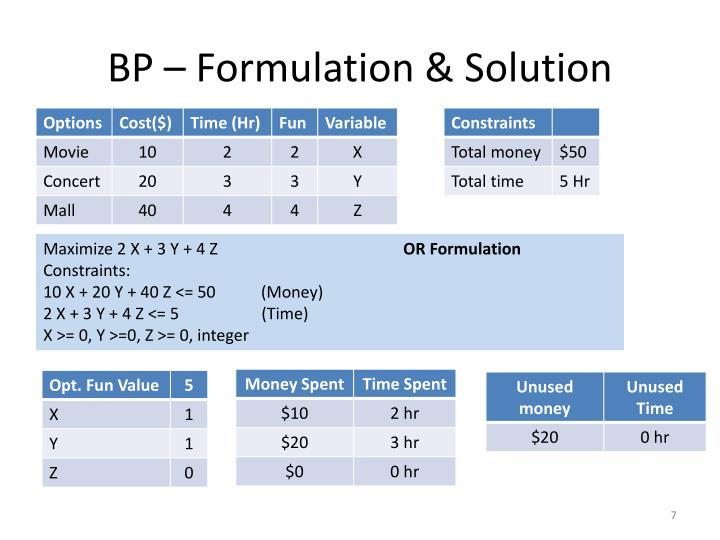 BP – Formulation & Solution