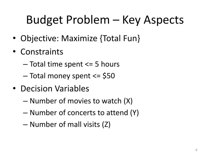 Budget Problem – Key Aspects