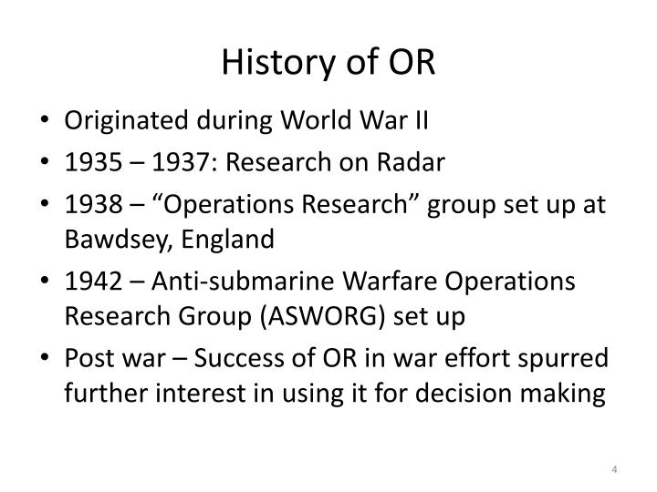 History of OR