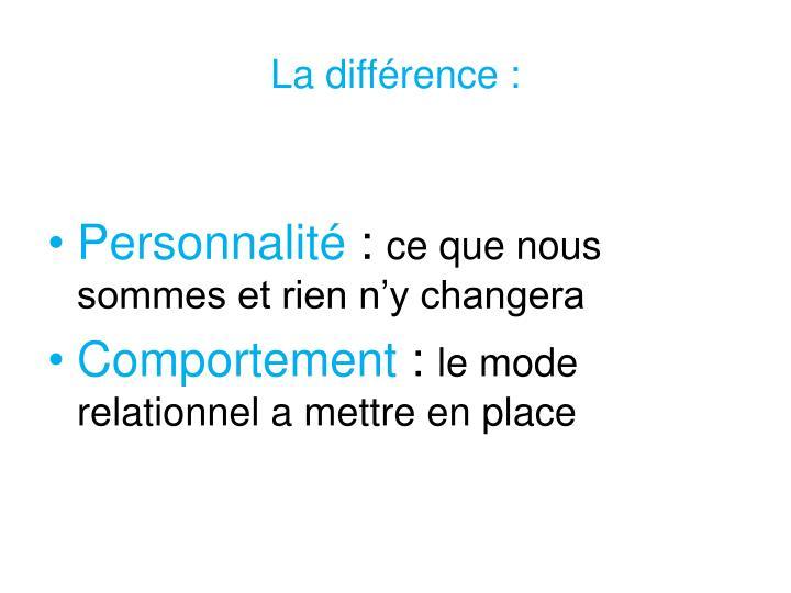 La différence :