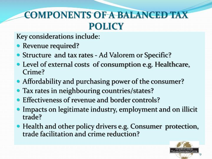 COMPONENTS OF A BALANCED TAX POLICY