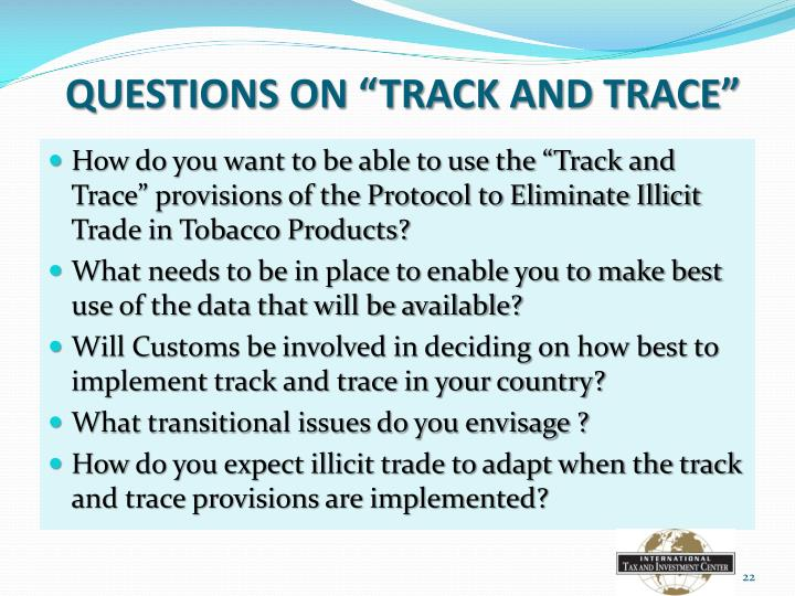 "QUESTIONS ON ""TRACK AND TRACE"""