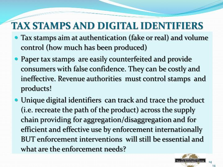 TAX STAMPS AND DIGITAL IDENTIFIERS