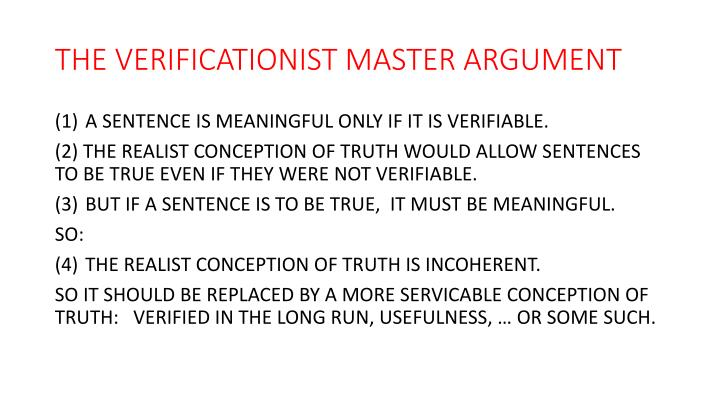THE VERIFICATIONIST MASTER ARGUMENT