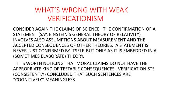 WHAT'S WRONG WITH WEAK               		            VERIFICATIONISM