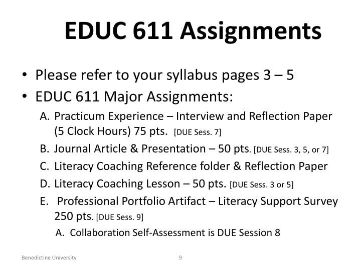 EDUC 611 Assignments