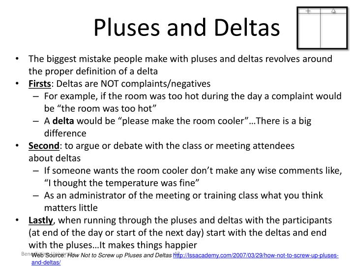 Pluses and Deltas