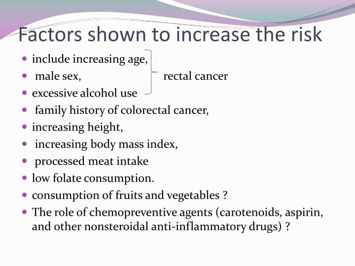 Factors shown to increase the risk