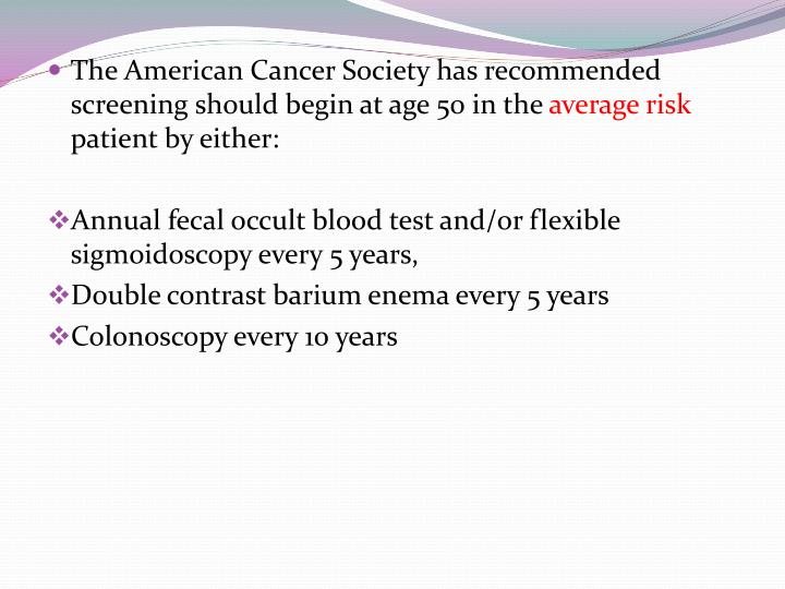 The American Cancer Society has recommended screening should begin at age 50 in the