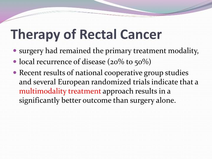 Therapy of Rectal Cancer