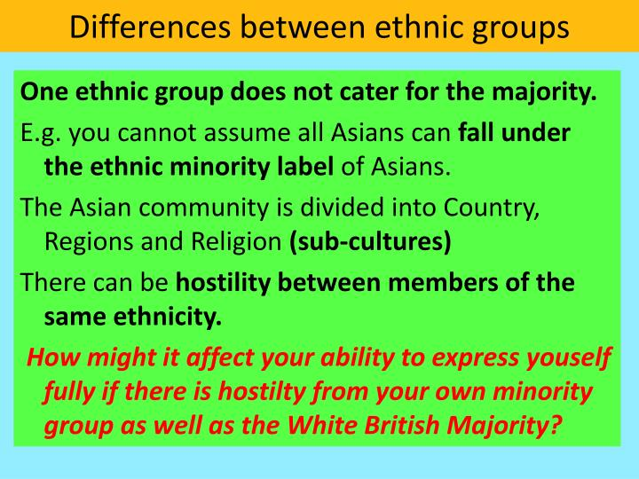 Differences between ethnic groups