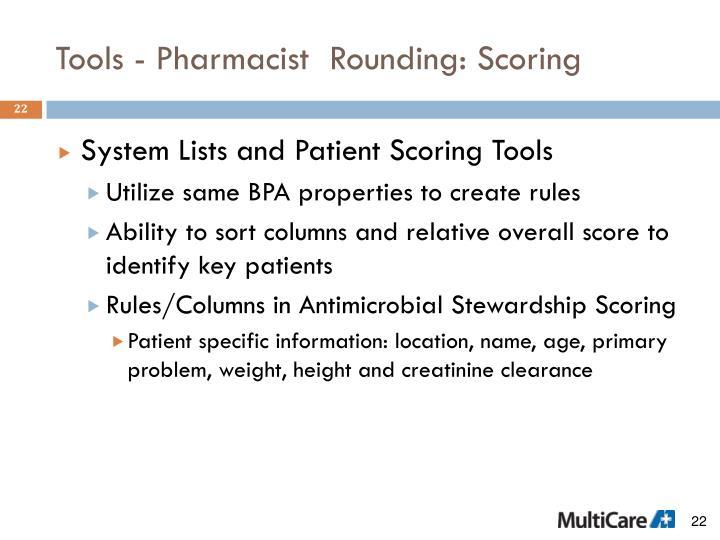 Tools - Pharmacist  Rounding: Scoring