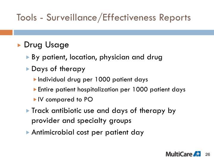 Tools - Surveillance/Effectiveness Reports