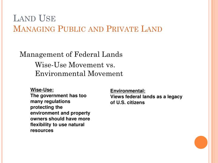 Land use managing public and private land
