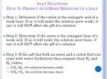 salt solutions how to predict acid base behavior of a salt