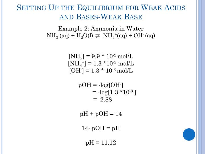 Setting Up the Equilibrium for Weak Acids and Bases-Weak Base