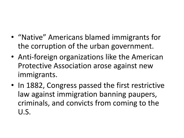 """Native"" Americans blamed immigrants for the corruption of the urban government."