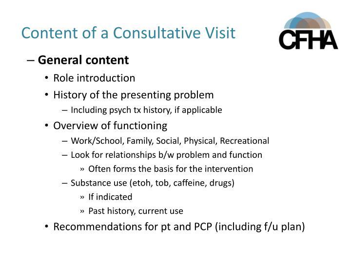 Content of a Consultative Visit