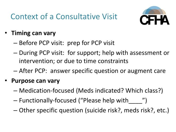 Context of a Consultative Visit