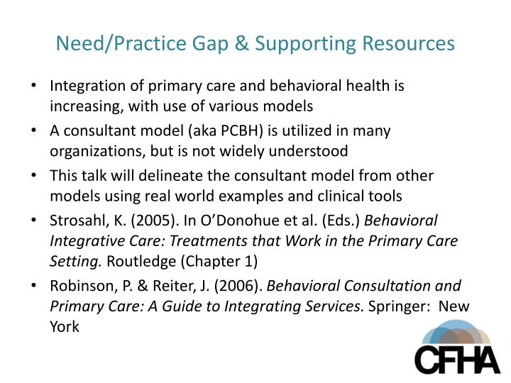 Need practice gap supporting resources