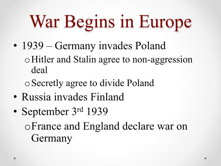 War Begins in Europe