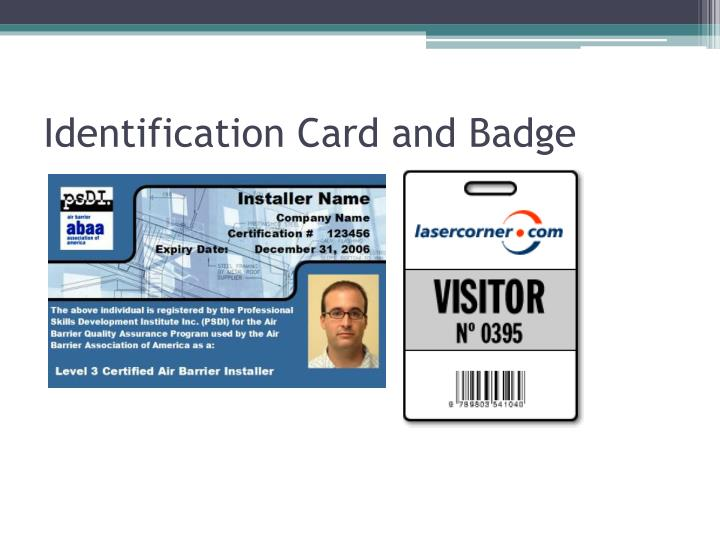 Identification Card and Badge