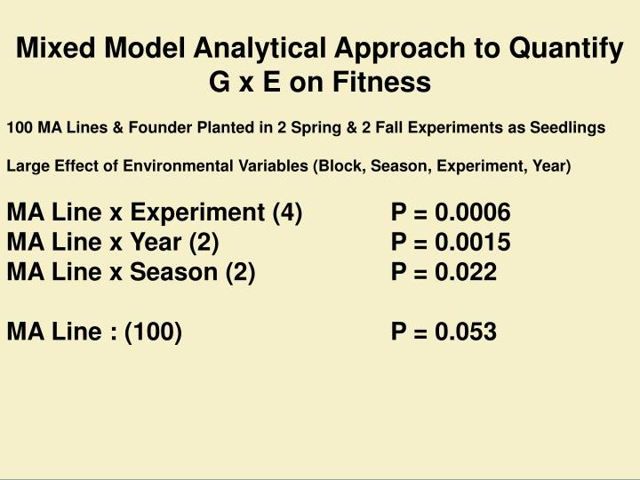 Mixed Model Analytical Approach to Quantify