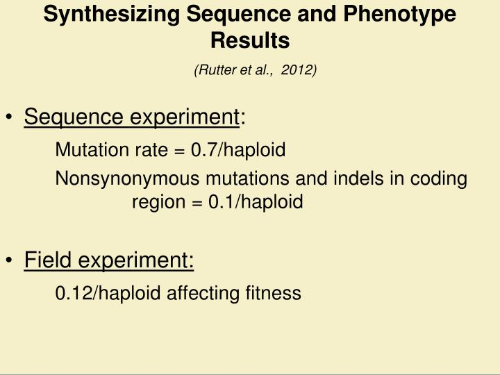 Synthesizing Sequence and Phenotype Results