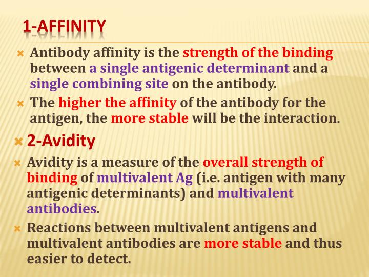 Antibody affinity is the