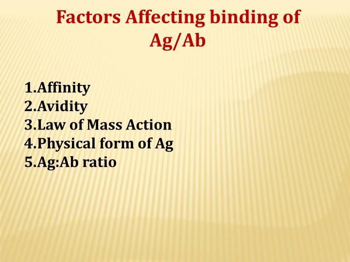 Factors Affecting binding of Ag/