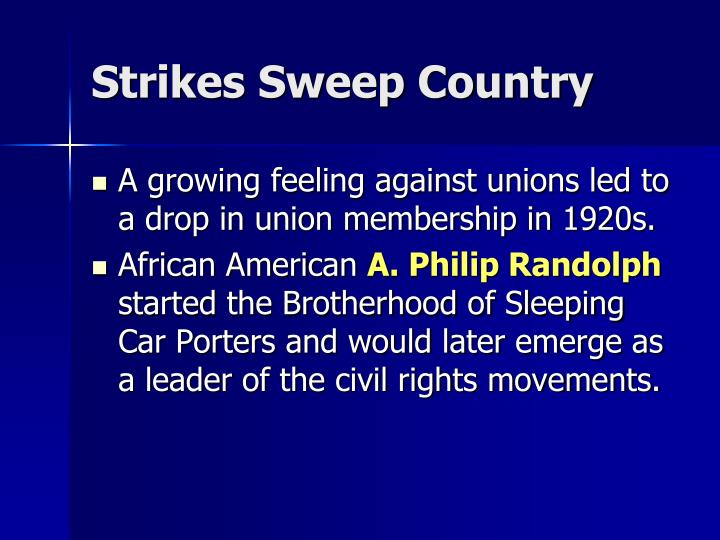Strikes Sweep Country