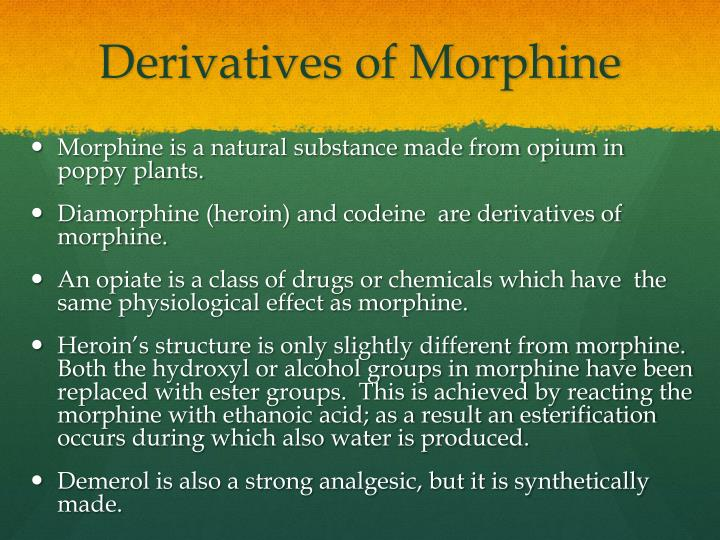 Derivatives of Morphine