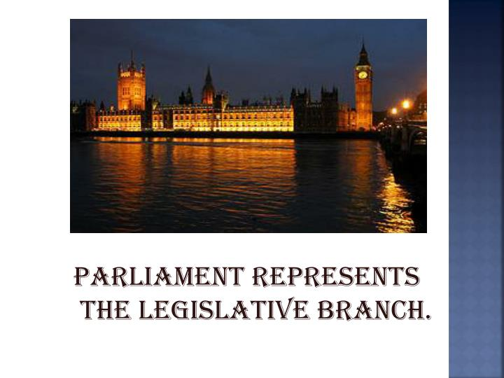Parliament represents the legislative branch.