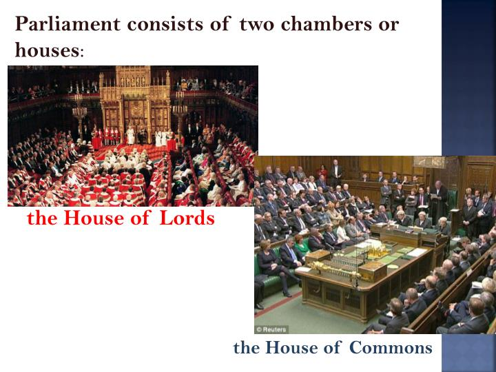 Parliament consists of two chambers or