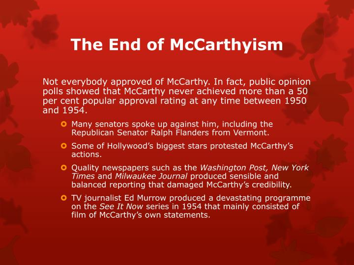 The End of McCarthyism