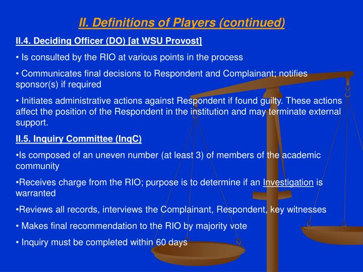 II. Definitions of Players (continued)