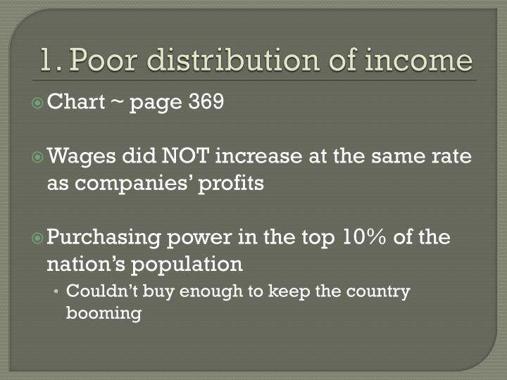 1. Poor distribution of income