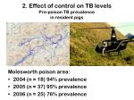 2 effect of control on tb levels pre poison tb prevalence in resident pigs