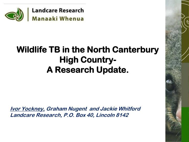 Wildlife tb in the north canterbury high country a research update