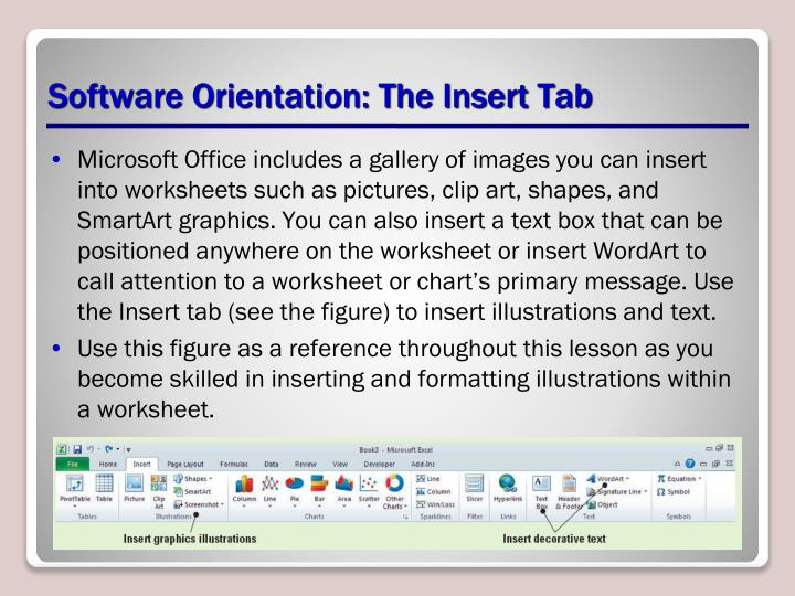 Software orientation the insert tab
