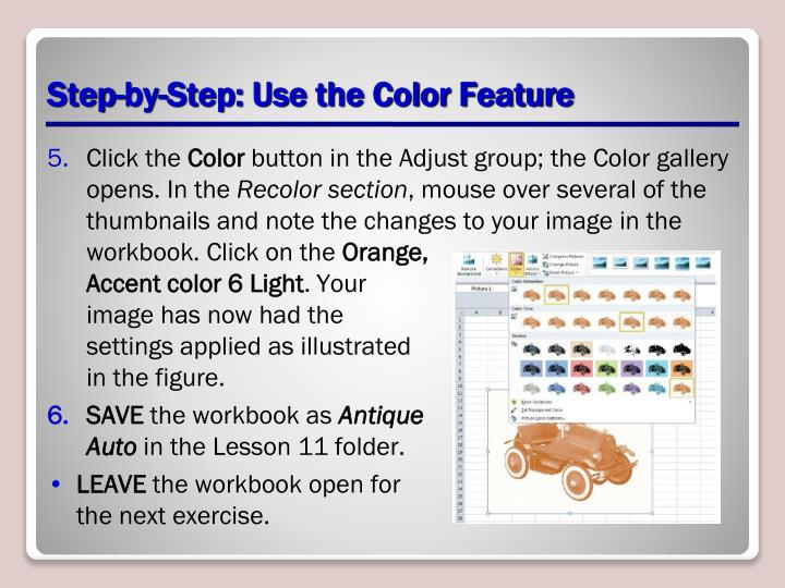 Step-by-Step: Use the Color Feature