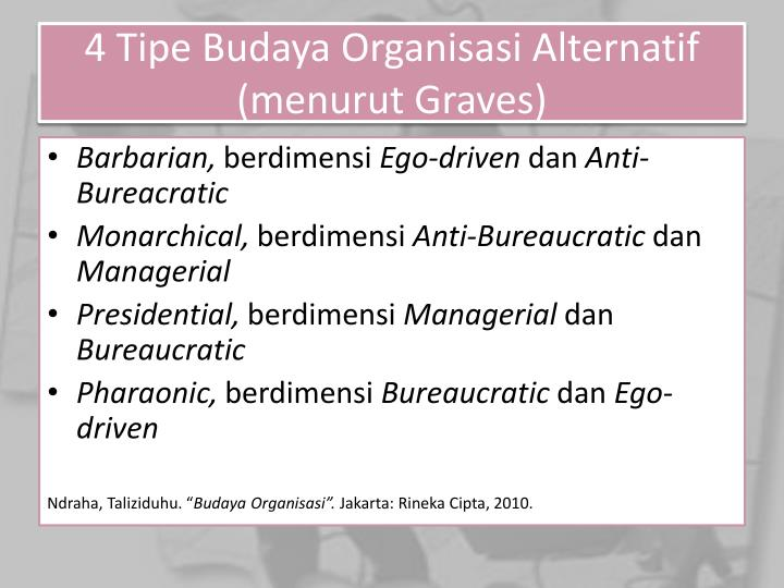 4 Tipe Budaya Organisasi Alternatif (menurut Graves)