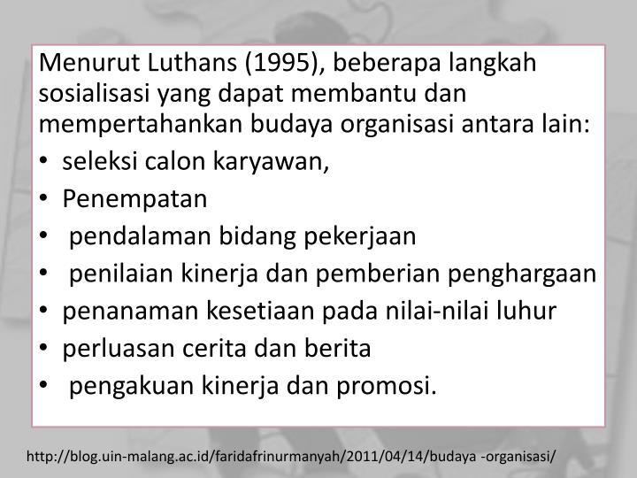 Menurut Luthans (1995), beberapa langkah sosialisasi yang dapat membantu dan mempertahankan budaya organisasi antara lain: