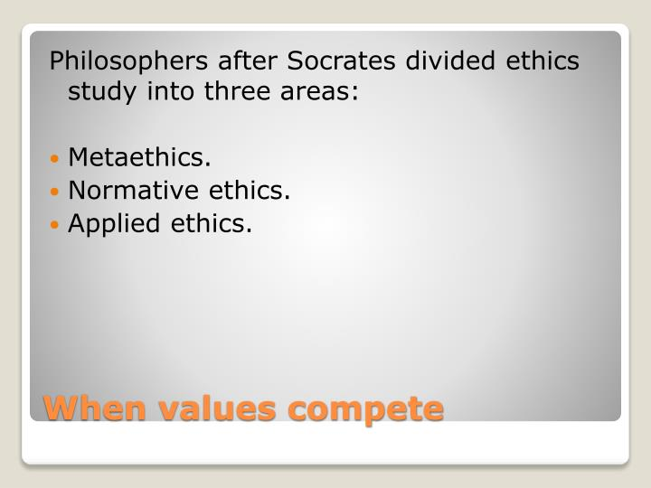 Philosophers after Socrates divided ethics study into three areas: