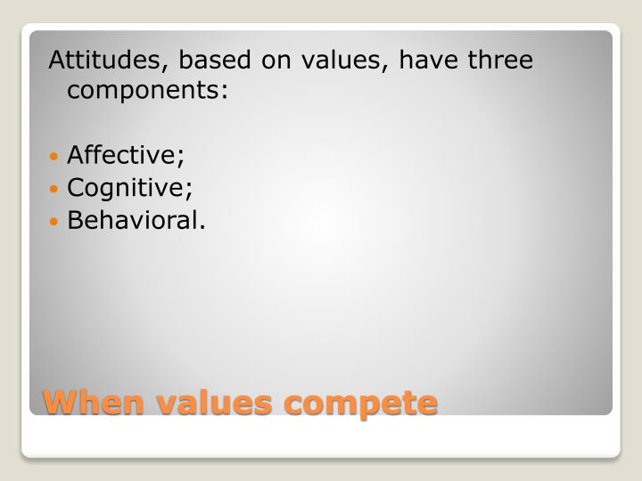 Attitudes, based on values, have three components: