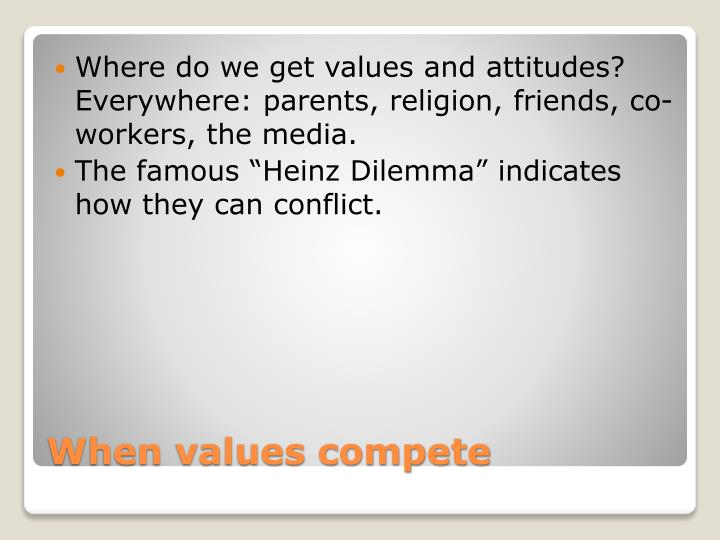 Where do we get values and attitudes? Everywhere: parents, religion, friends, co-workers, the media.