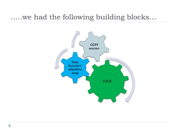 …..we had the following building blocks…